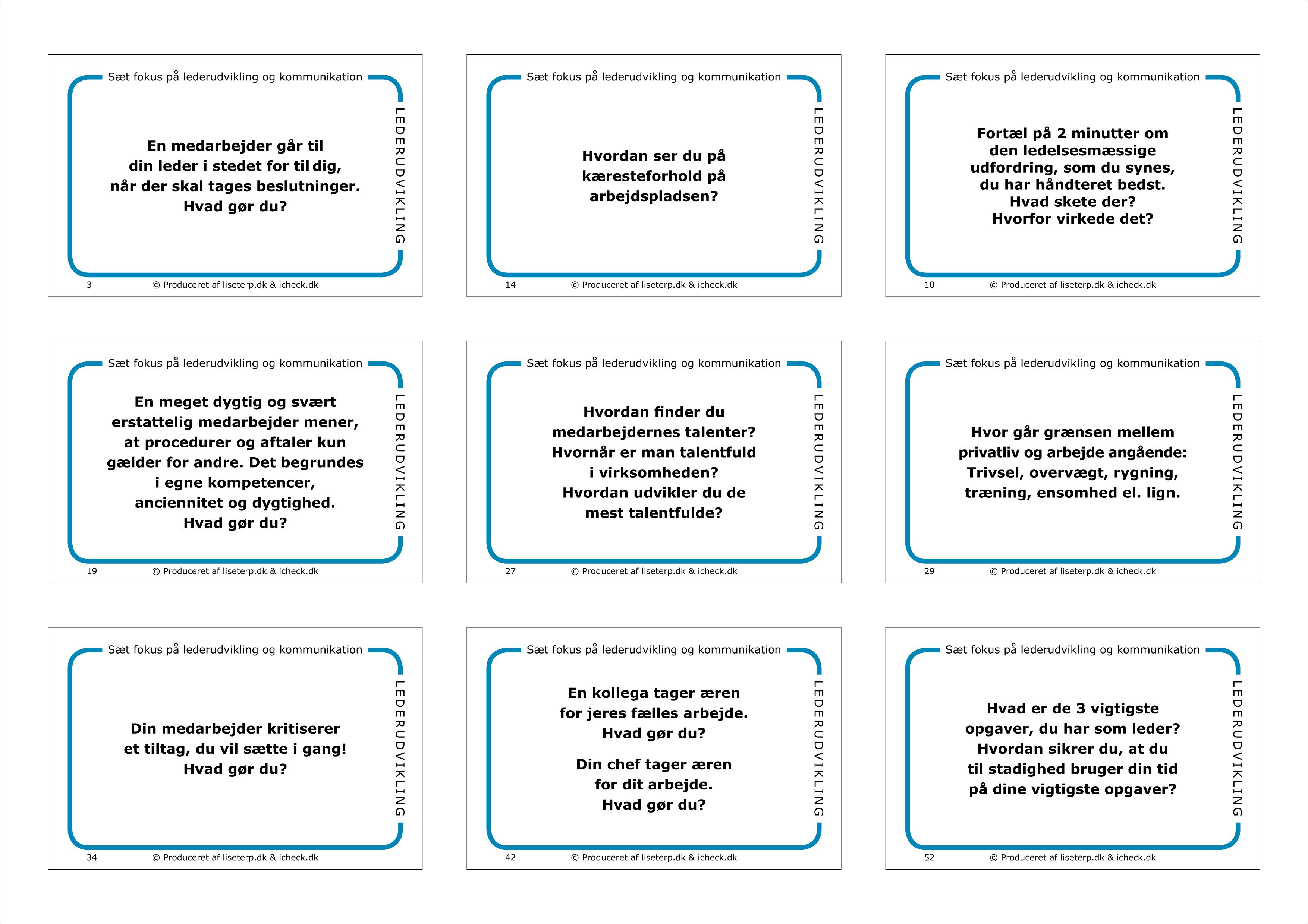 lederudvikling spørgsmål og dilemmer kommunikationskort ledertræning